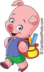 School pig - Cute school pig walking with a backpack