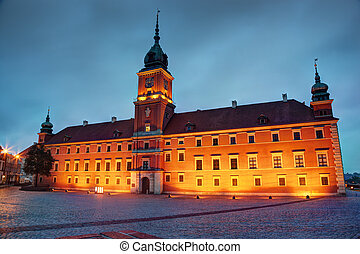 Royal Castle in Warsaw, Poland at the evening - Royal Castle...