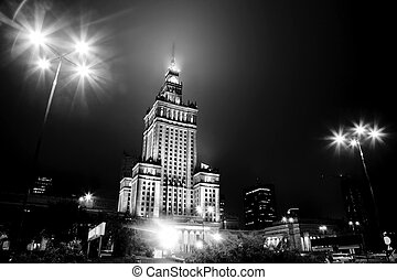 Warsaw, Poland downtown skyline at night in black and white