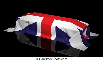 Coffin covered with the flag of UK - Coffin covered with the...