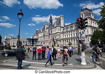 The Hotel de Ville, Paris, France. - PARIS - JUNE 5: A place...