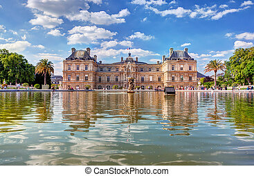 The Luxembourg Palace in The Jardin du Luxembourg or...