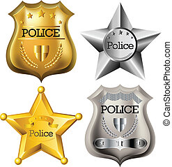 Police badge set - Gold and silver Police badge set