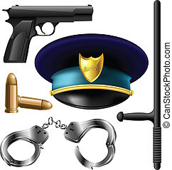 Police items set with gun, bullets, handcuffs and baton