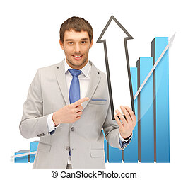 businessman with arrow and 3d chart - businessman with arrow...
