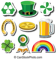 St Patricks day sticker set with symbols