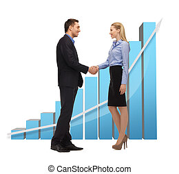 man and woman shaking their hands - bright picture of man...
