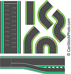 Formula race track line set elements