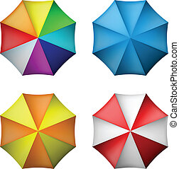 Umbrella set from top view in different color combinations...