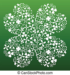 Four leaf clover made from small white clover symbols on...