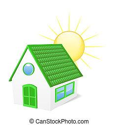 House with sun.