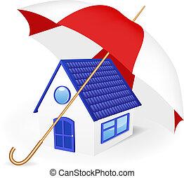 House under an umbrella.