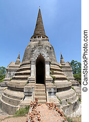 Old and ruined stately Chedi (Sri Lankan-styled stupas) at...