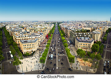 Avenue des Champs-Elysees in Paris, France - View on Avenue...