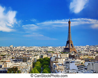 Rooftop view on the Eiffel Tower, Paris, France - Rooftop...