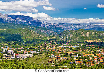 Town of Knin and Dinara mountain, Dalmatian Zagora, Croatia