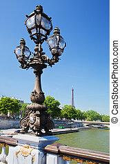 Eiffel Tower and bridge on Seine river in Paris, Fance.