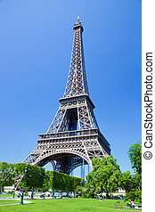 Eiffel Tower, Paris, France - Eiffel Tower seen from Champ...
