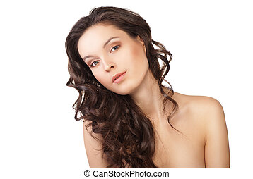Woman with beauty long brown hair isolated
