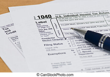 1040 IRS Tax Form Close Up - Close up of a 1040 IRS Tax Form