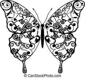 Exotic butterfly abstract patterns, EPS8 - vector graphics