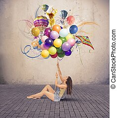 Girl with balloon - Girl with colorful explosion of ballon