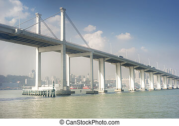 Sai Van bridge in Macau. This is the world's largest double...