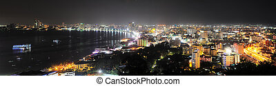 Pattaya at night - Panorama of Pattaya at night Pattaya is a...