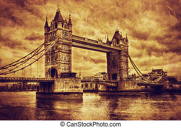 Tower Bridge in London, the UK Vintage style - Tower Bridge...