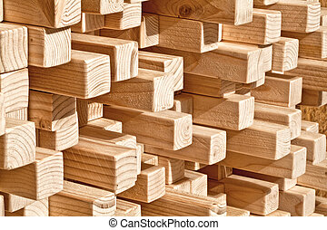 wood background - natural wood lath in different length