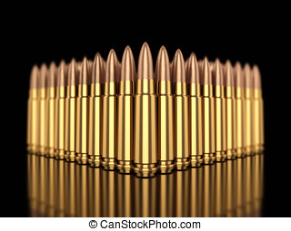 Ammunition - Cartridges on black reflective background