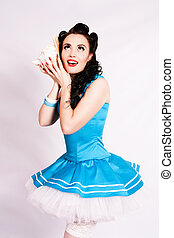 Sailor pin-up girl with a shell. - Sailor pin up girl with a...