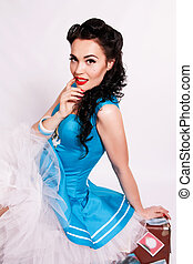 Sexy sailor pin-up girl - Sailor pin-up girl with bright...