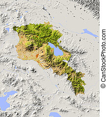 Armenia, shaded relief map - Armenia. Shaded relief map with...