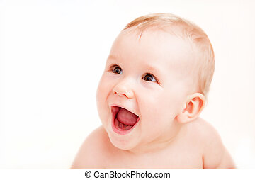 Cute happy baby laughing on white - Cute happy baby...