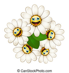 Bouquet of flowers with smiling daisies