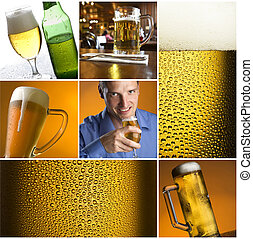 beer - colorful beer collage made from nine photographs