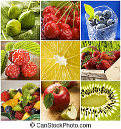 collage - colorful healthy fruit collage made from nine...