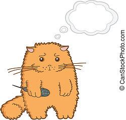 divertido, caricatura, gato