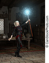 The Mage's Staff - Female magic user in her laboratory...