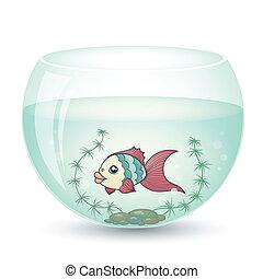 pez, estilo, caricatura