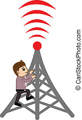 Mobile Tower - Repair Concept - Drawing Art of Young Cartoon...