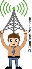 Man with Network Antenna Vector - Drawing Art of Young...