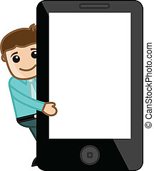 Man Presenting Tablet - Smartphone - Drawing Art of Cartoon...