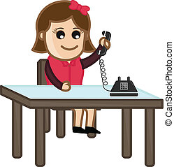 Receiving a Phone Call Vector - Drawing Art of Cartoon Young...