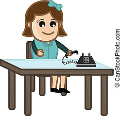 Office Woman with Phone Vector - Conceptual Drawing Art of...