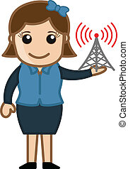 Girl with Internet Signal Tower