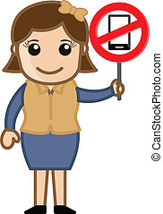 Mobile Phone Not Allowed Vector - Drawing Art of Cartoon...