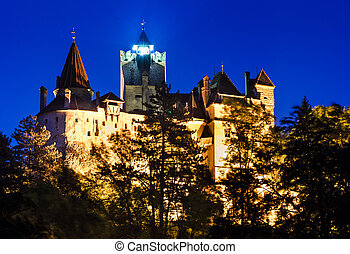 Bran Castle, twilight view, Romania - Medieval Bran castle...