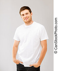 smiling man in blank white t-shirt - picture of smiling man...